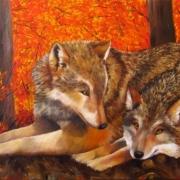 Картина маслом Волки в лесу