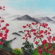 Картина маслом Туманные горы