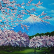 Картина маслом Сады сакуры