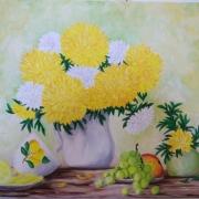 Картина маслом Хризантемы
